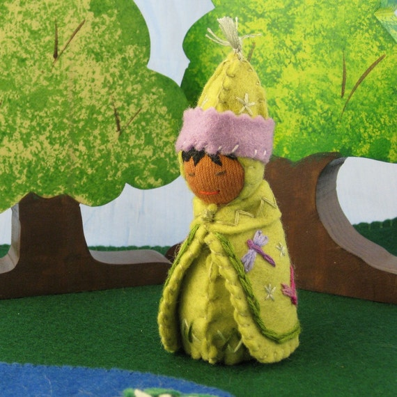 Dragonfly Gnome Doll in Green-- Waldorf Inspired