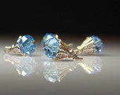 Vintage Style Bead Dangles Blue Glass BL228