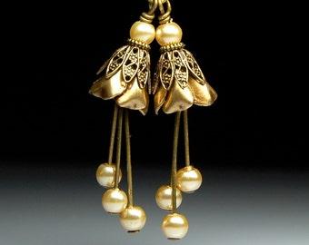 Vintage StyleBead Dangles  Antiqued Brass Flowers  Pair C233