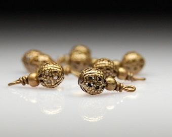 Bead Dangles Antiqued Brass Filigree  MT583