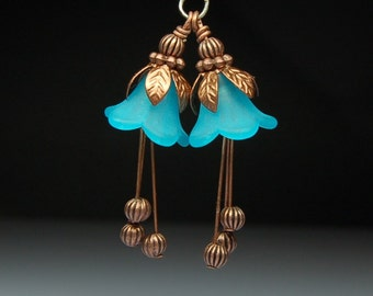 Vintage Style Bead Dangles Turquoise Blue Lucite Flowers Pair BL211