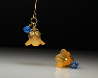 Vintage Style Handmade Wire Wrapped Bead Dangles Orange and Blue Lucite Flowers Pair O232