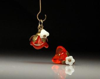 Vintage Style Bead Dangles Orange Glass Flowers Pair O412