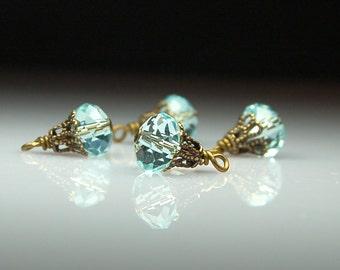 Vintage Style Bead Dangles Aqua Blue Glass Set BL239
