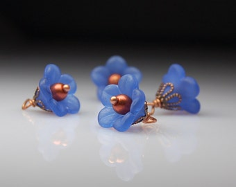Vintage Style Bead Dangles Blue Lucite Flowers Set of Four BL199