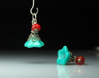 Vintage Style Bead Dangles Turquoise Glass Flowers Pair G520