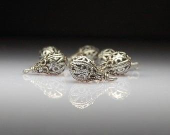 Vintage Style Bead Dangles Antiqued Silver FIligree Set of Six MT109