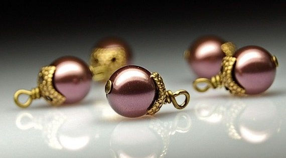 Bead Dangles Purple Swarovski Pearls PR111