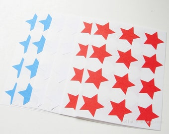 108 Star Stickers - Red, White and Blue