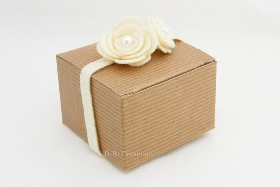 Kraft Natural Pinstripe Boxes 3x3x2 - Perfect for small gifts and party favors.