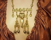 Reserved for Mich HUGE Egyptian Pharaoh Necklace with mummies scarabs and more Signed