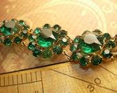 Vintage CZECH bracelet Green glass  Rhinestone Florette Bracelet costume jewelry