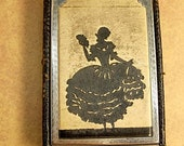 ANtique Victorian Compact Regency Silhouette and tooled leather Girey in camera style