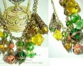Reserved for deb DRIPPING DECO Venetian necklace GLASS FRINGEbib fob charm