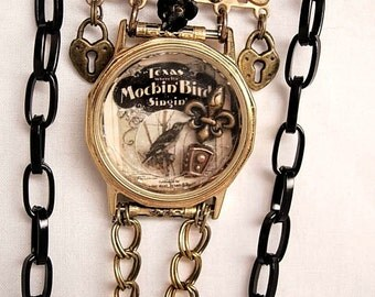 Victorian miniature Mocking bird Musical watch fob shrine necklace
