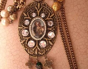 Gothic Joan of Arc Portrait religious cross necklace