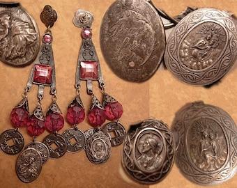 ANtique Italian religious medal chandelier LONG drop earrings
