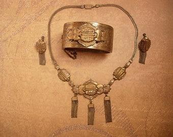 1890's VIctorian Buckle bracelet tassel necklace and tassle earrings PARURE brass bangle festoon antique jewelry