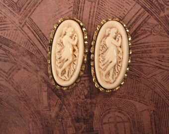 Vintage Art Nouvueau Goddess Cameo Earrings