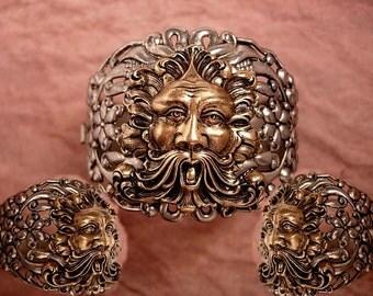 HUge Vintage Bacchus Relief bracelet hinged with figural mythology gargoyle God