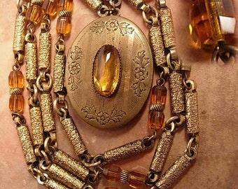 ANtique Art Deco Golden citrine Locket necklace