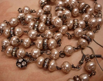 Vintage freshwater Baroque pearl chandelier necklace and earrings with rhinestone roundels