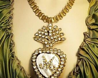 Sacred heart necklace Paste Ex voto Locket rosary  bookchain hidden reliquary compartment