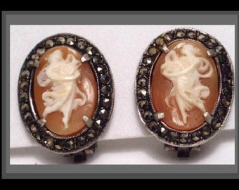 Antique NEOclassical Real Cameo Venus earrings sterling goddess with harp and marcasite border