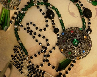 Vintage Flapper lariat and czech filigree necklace set Jet beads 2 necklaces