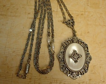 Vintage Deco MOP necklace with marcasites and faux pearls