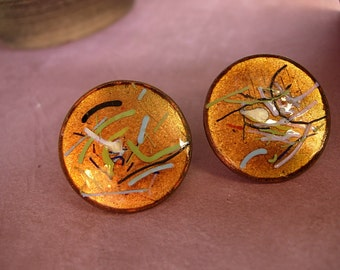 Vintage Enamel Earrings Fiery Copper hand wrought artisan earrings with the colors of fire