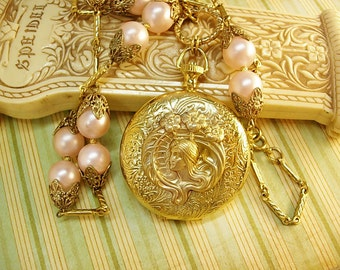 "Memorial pocketwatch nouveau Mucha locket on large pink pearl chain ""I cannot say farewell"""