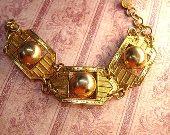 Vintage Art Deco bracelet rose gold and yellow gold filled geometric links