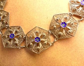 "VIntage  enamel filigree bracelet 8"" long Cobalt blue flowers silver Victorian jewelry ladies victorian bracelet"