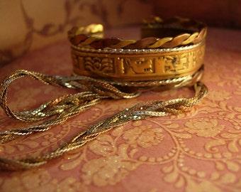 VIntage mixed metal cuff bracelet and necklace strange symbols