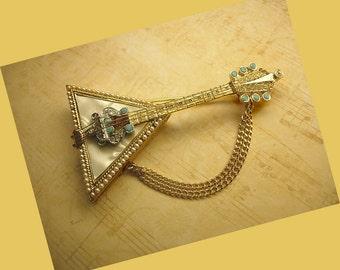 Vintage signed Russian Balalaika brooch rhinestones and mother of pearl  R Mandle