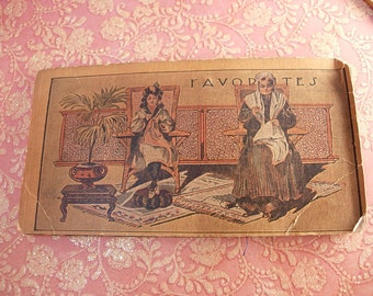 ANtique miniature postcards victorian needlecase Women sewing NEW York  souvenir needlebook