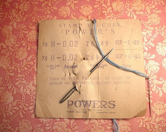 1928 antique stamp voucher POwers with huge needle antique dry goods store minnesota