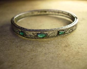 Vintage Art Deco filigree jeweled bangle bracelet Great period piece