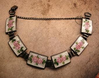 Antique Art Deco sterling Guilloche Enamal Pink Roses bracelet