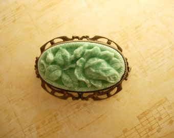 DECO vintage carved peking glass BROOCH