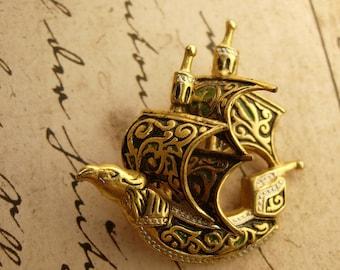 Vintage Enamel Medieval Viking Bird bulkhead Ship Brooch