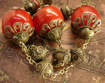 Vintage Gypsy RED Tribal Etruscan necklace Dramatic Goddess