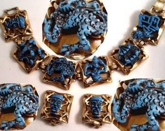 VINTAGE ENAMEL medieval  DRAGON Devil  bracelet earrings parure