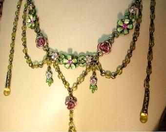 Ophelia's Garden Gothic enamel rose festoon drop memorial necklace