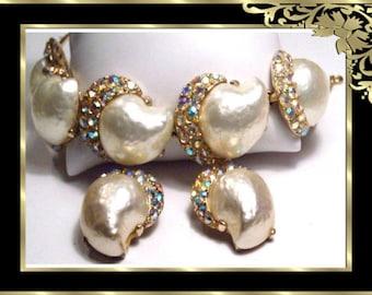 Vintage GLAMOROUS Mabe PEARL Rhinestone BRacelet and  earrings wedding parure