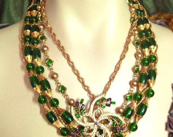 Extravagant glass HUGE layered rhinestone chandelier exotic necklace