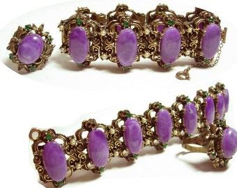 VIntage bracelet & ring Suffragette purple cabachon fancy medieval