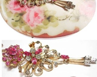 SIGNED Pink Rhinestone chandelier Brooch necklace and extra pin