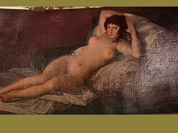 Nude painting The Maja Canvas in Frame reclining art nouveau woman goddess OLD